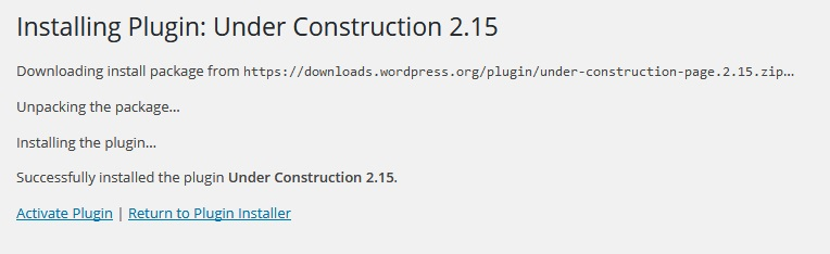 Under Construction Plugin Activation