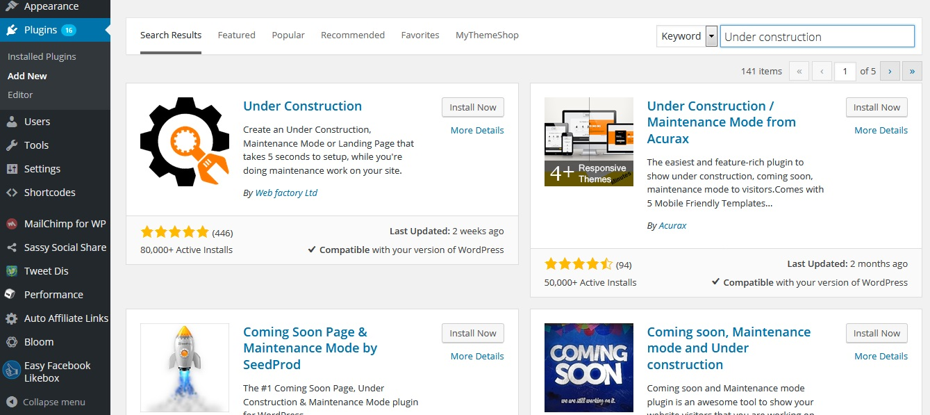 Under Construction Plugin Installation